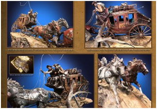 Foundation Michelangelo Historic Stage Coach Bronze Sculpture